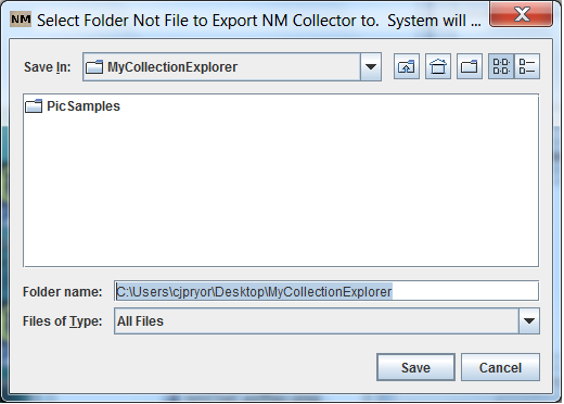 NM Collector Export Screen Shot 2
