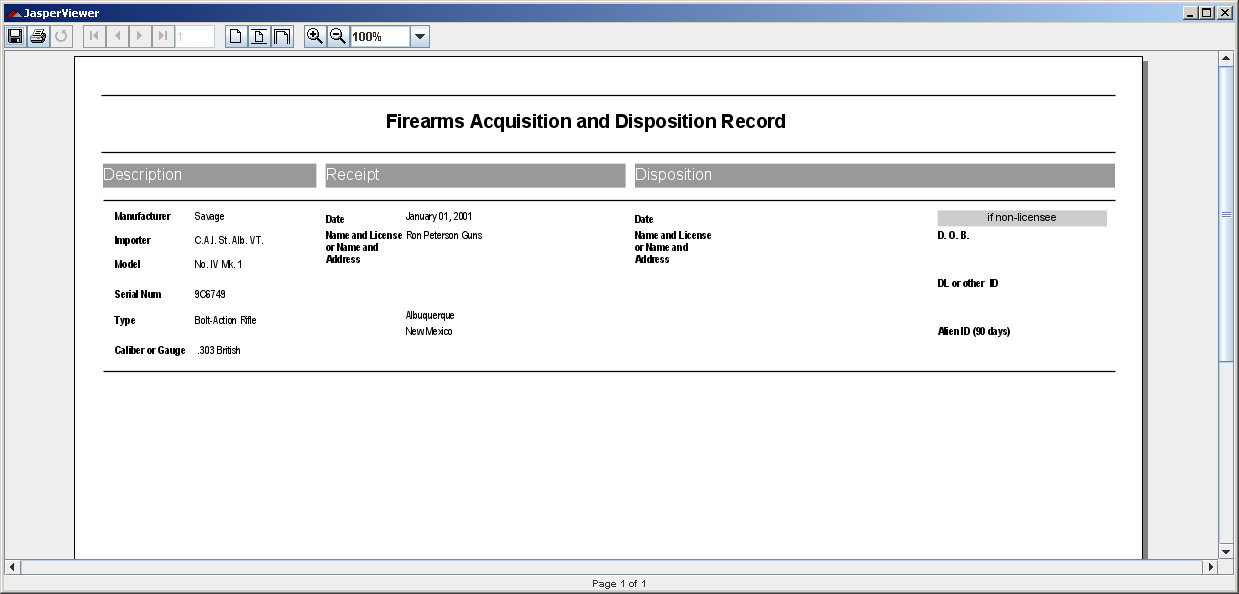 Sample A&D Report for Firearms