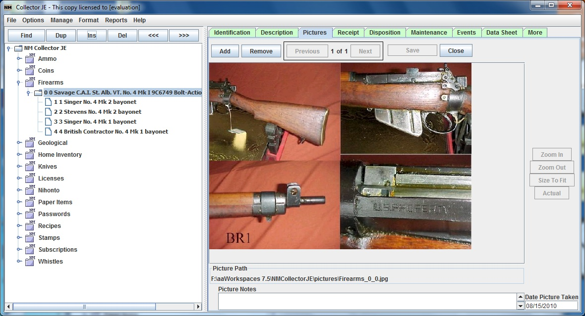 Gun Collector Software example