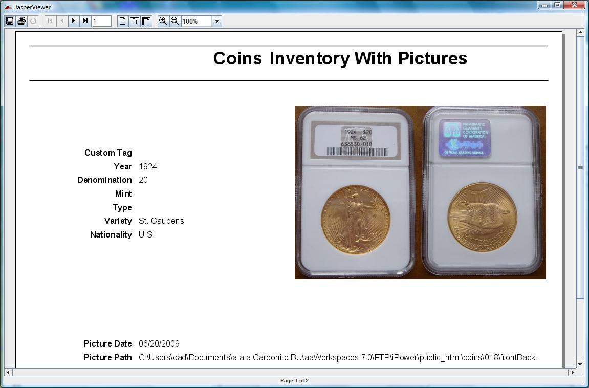 Coin Inventory Software example