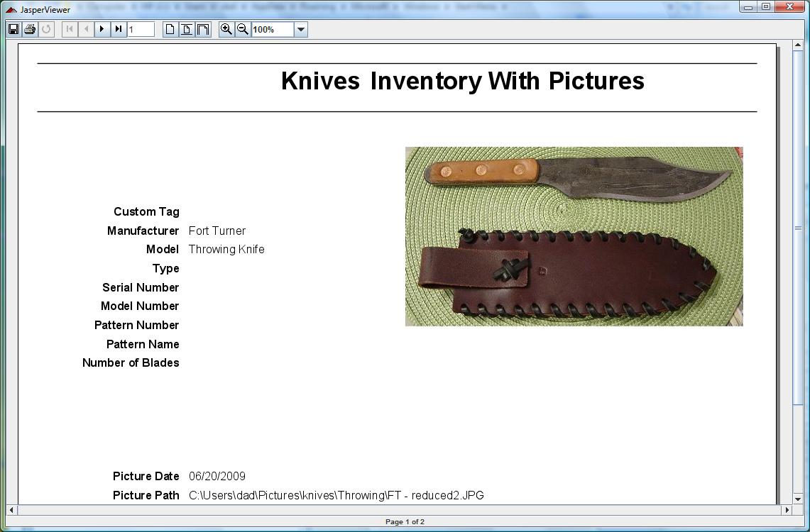 Knife Collecting Software example
