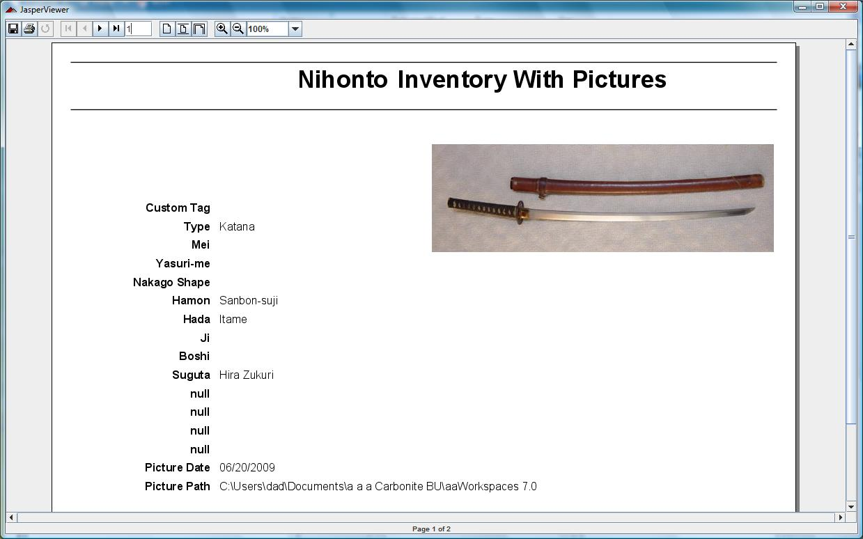 Japanese Sword Collecting Software pictures