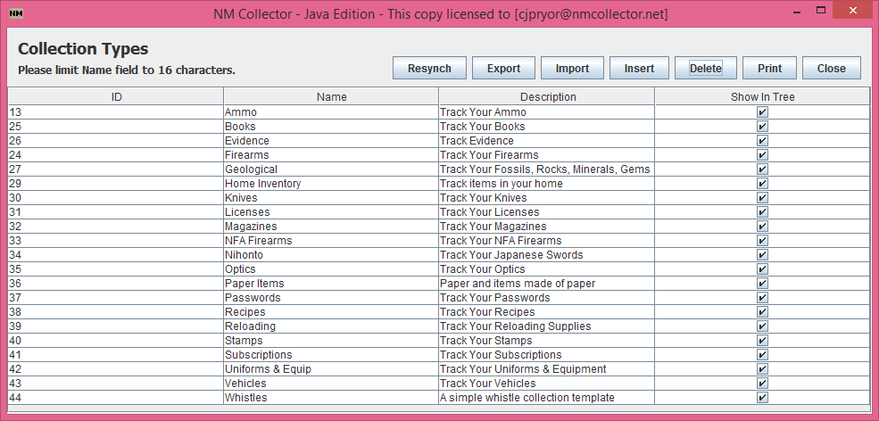 Manage Collections Screen Capture